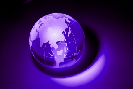 Earth planet,Purple globe for background    photo