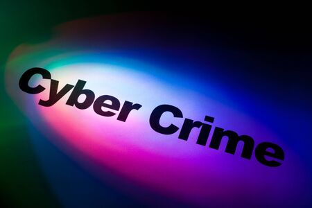 computer crime: Color light and word of Cyber Crime for background   Stock Photo