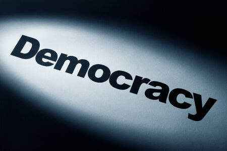 light and word of Democracy Change for background   photo