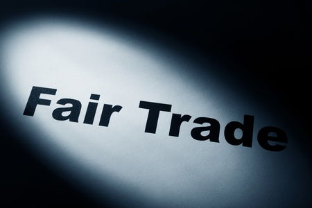 trade fair: light and word of Fair Trade for background