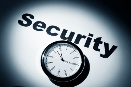 Clock and word of Security for background Stock Photo - 16362046