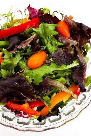 lettuces: Salad, Lettuces, mizuna, tomato for background Stock Photo