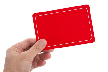 business card in hand: Red Blank Card for message Stock Photo