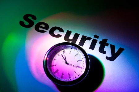 Clock and word of Security for background Stock Photo - 10171833