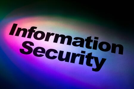 online safety: Color light and word of Information Security for background