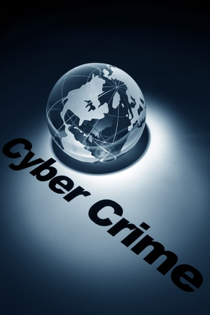 cyber: globe, concept of Cyber Crime