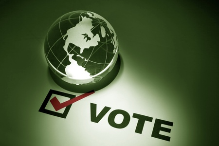 electing: Globe and Voting, concept of Environmental Conservation;