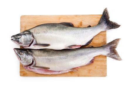 pink salmon: Pink Salmon on cutting board Stock Photo