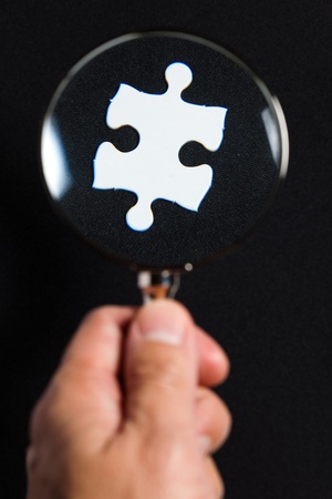 White Blank Puzzle, business concept of Solution photo