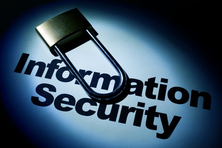 security: light and word of Information Security for background   Stock Photo