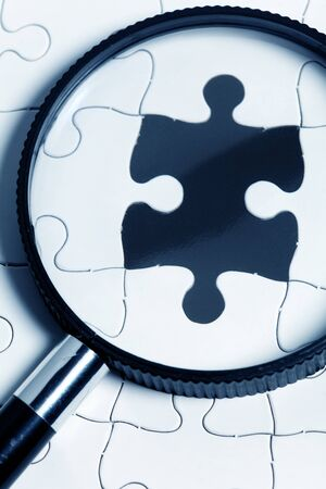 Blank Puzzle, business concept of Solution photo