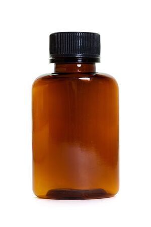 Brown Plastic Bottle with white background