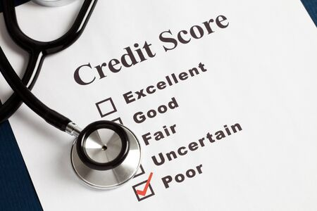 rated: Stethoscope and Credit Report, concept of Credit Problems