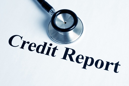 Stethoscope and Credit Report, concept of business