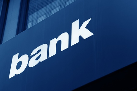 bank building: Building Exterior with bank sign Stock Photo