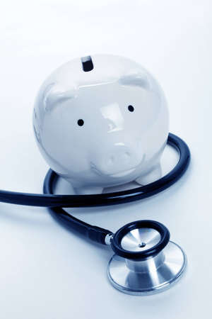 Stethoscope and Piggy Bank, concept of Financial Health