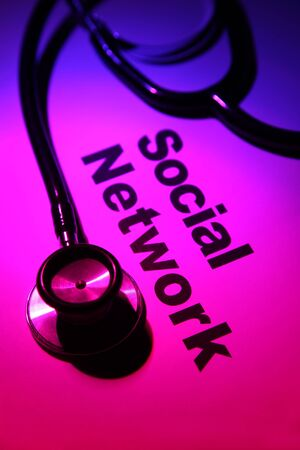 Stethoscope and Social Network, concept of network Security photo