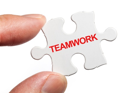 Puzzle and word Teamwork, business concept  photo