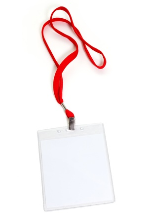 lanyard: Name Tag with white background Stock Photo