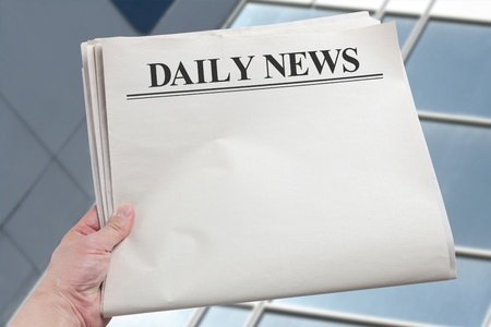 newspaper: Daily News, Blank Newspaper with white background Stock Photo