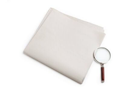 Blank Newspaper and magnifying glass with white background Stock Photo - 13184207