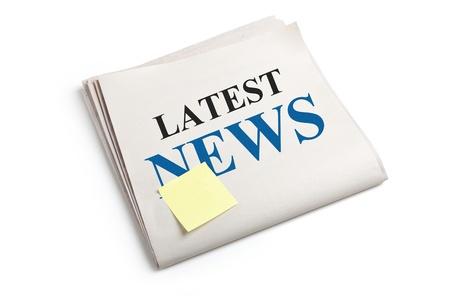 Dernières Nouvelles, journal avec un fond blanc Banque d'images - 13184210