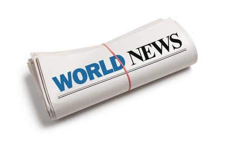 world news: World News, Newspaper roll with white background Stock Photo