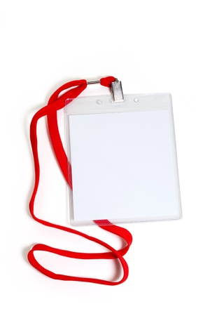id badge: Name Tag with white background Stock Photo