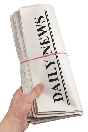 Daily News, Newspaper roll with white background photo