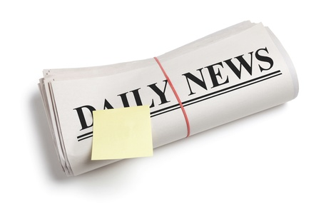 Daily News and Sticky Note, Newspaper with white background photo