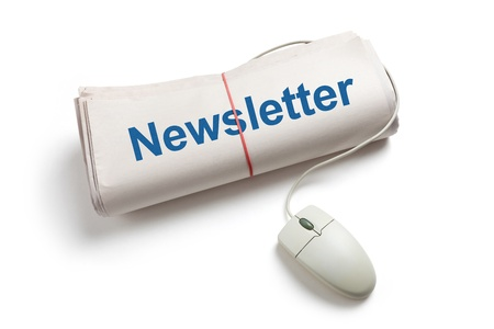 Newsletter and Computer mouse with white background