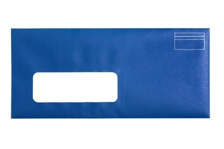 envelope: Blue Window Envelope with white background Stock Photo