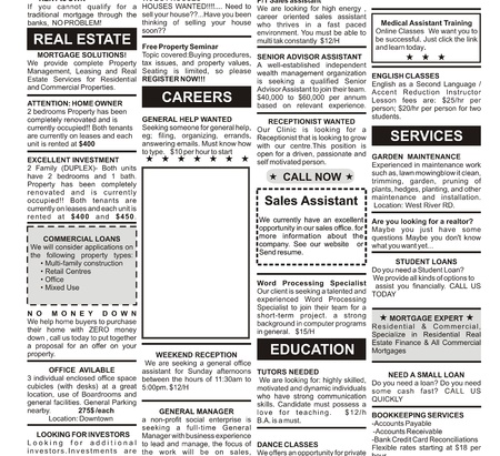 Fake Classified Ad, newspaper, business concept. photo