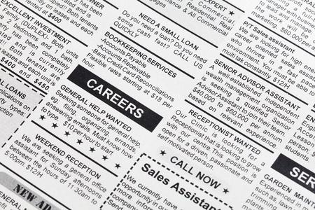 werk: Fake advertentie, krant, business concept.