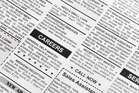 occupation: Fake Classified Ad, newspaper, business concept.