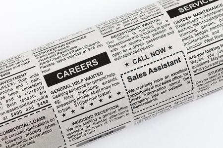 가짜 분류 광고, 신문, 비즈니스 개념.