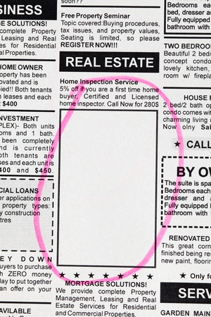 Fake Classified Ad, newspaper, Real Estate concept. Stock Photo - 13366970
