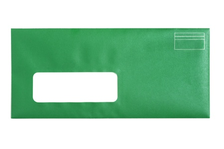 envelope: Green Window Envelope with white background