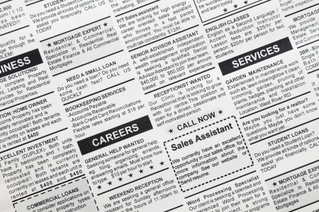 Fake Classified Ad, newspaper, business concept  photo