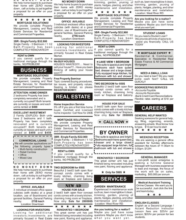 Fake Classified Ad, newspaper, business concept  Stock Photo