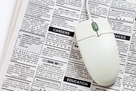 classifieds: Fake Classified Ad, newspaper, job concept