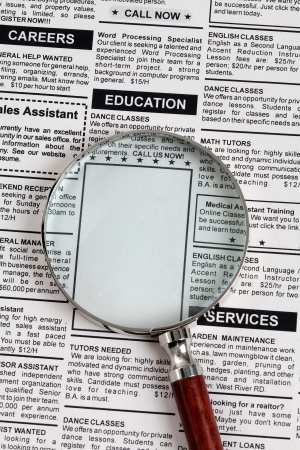 classified ad: Fake Classified Ad, newspaper, Education concept
