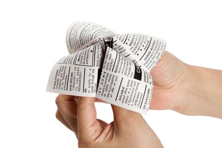 가짜 신문 점쟁이, 분류 광고, 비즈니스 개념