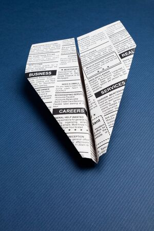 classifieds: Fake Newspaper Airplane, Classified Ad, business concept  Stock Photo