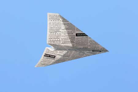 Fake Newspaper Airplane, Classified Ad, business concept.