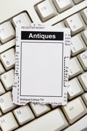 classifieds: Fake Classified Ad, newspaper, Antiques Sale concept.