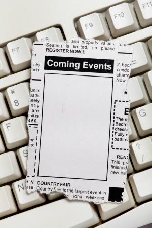 가짜 분류 광고, 신문, 다가오는 이벤트 개념입니다. 스톡 콘텐츠