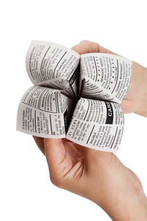 Newspaper Fortune Teller, Classified Ad, business concept. photo