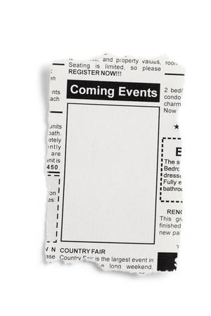 가짜 분류 광고, 신문, 다가오는 이벤트 개념.