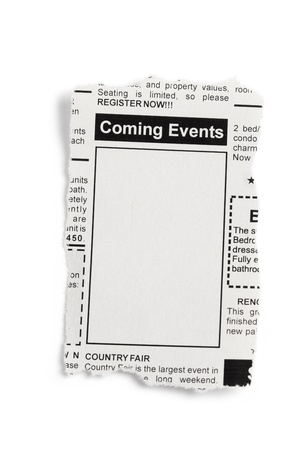 Fake Classified Ad, newspaper, Coming Events concept. photo